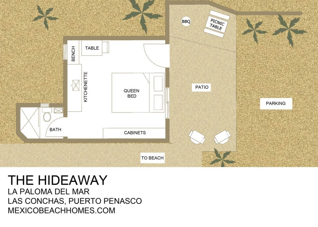 the hideaway rental floorplan